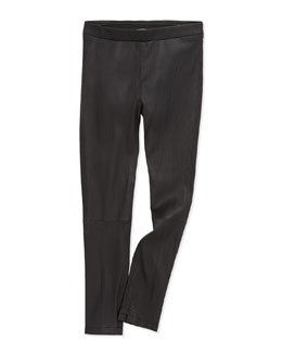 Stretch-Leather Leggings, Black, Girls' S-XL