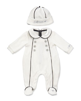 Armani Junior Pipe-Trimmed Velour Footie & Hat Set, White, Sizes 3-12 Months