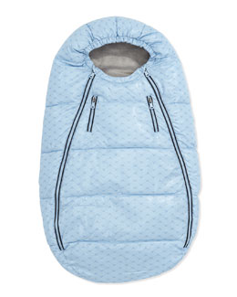 Armani Junior Logo-Print Quilted Bunting Bag, Light Blue
