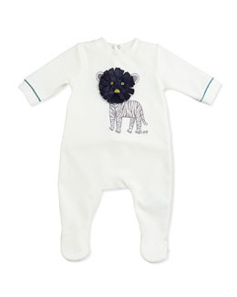Little Marc Jacobs Boys' Tiger Embroidered Velour Footie, White, Sizes 3-18 Months