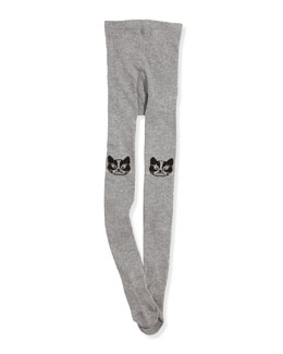 Little Marc Jacobs Girls' Cat Knit Tights, Gray