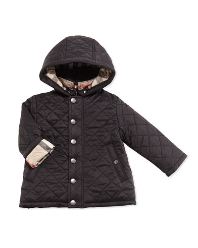 Jerry Quilted Jacket w/ Removable Hood, Black, Size 6M-3Y