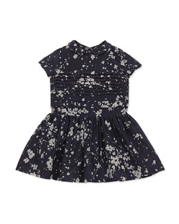 Floral-Print Cotton-Blend Dress, Dark Indigo