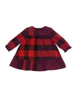 Check Empire-Waist Dress, Deep Fuchsia