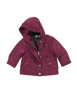 Lightweight Hooded Nylon Jacket, Deep Fuchsia