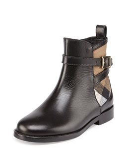 Leather and Check Ankle Boot, Black, Youth