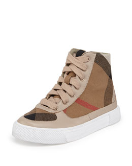 Canvas/Leather High-Top Sneaker, Tan, Youth