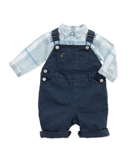 Cotton-Twill Overalls, Blue, 3-24 Months