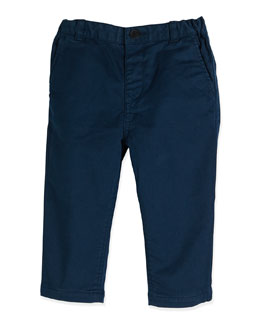 Infant Boys' Cotton-Twill Trousers, Blue, 6M-3Y