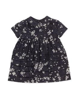 Floral-Print Cotton/Silk Dress, Dark Indigo