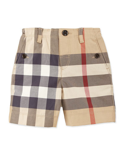 Trousers Button-Front Cotton Shorts, New Classic Check, Size 3M-3Y