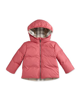 Hooded Puffer Jacket, Camelia Pink, 3-24 Months