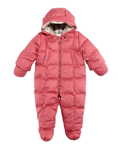 Skyla Down/Feather Puffer Snowsuit, Pink, 3-18 Months