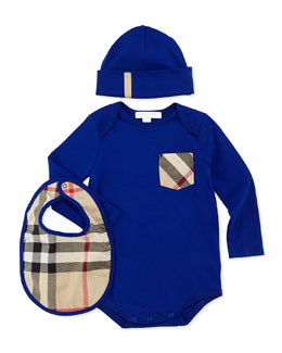 Playsuit, Hat, and Bib Set, Brilliant Blue
