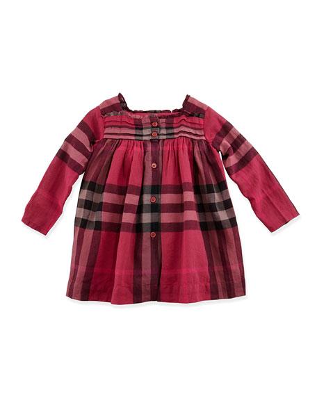 Abizt Check Ruffle-Collar Dress, Deep Claret, 3M-3Y