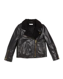 Chloe Asymmetric Zip Leather Jacket, Black, Sizes 6A-10A