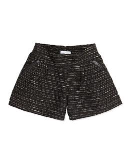 Chloe Shimmer Tweed Pleated Shorts, Black, 6A-10A