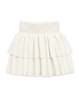 Milly Minis Ruffled Rib-Knit Tiered Skirt, White, Sizes 8-12