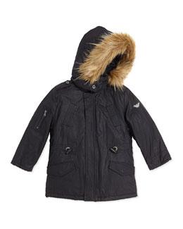 Armani Junior Faux-Fur Trimmed Waxed Jacket With Faux-Fur Vest, Navy, Sizes 2T-8