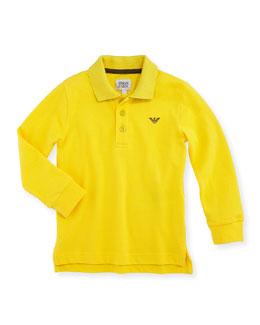 Armani Junior Pique Long-Sleeve Polo, Yellow, 2A-8A