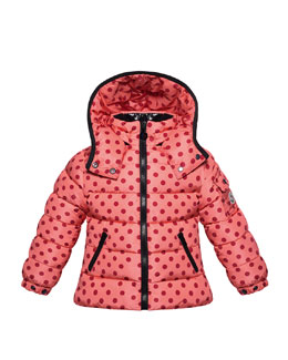 Moncler Bady Polka-Dot Puffer Jacket, Pink, Sizes 2-6