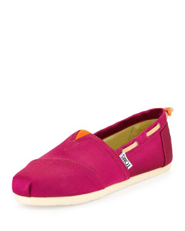TOMS Grosgrain Bimini Boat Shoe, Pink/Orange, Youth