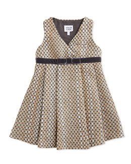 Armani Junior TWEED VNECK DRESS W RIBBON