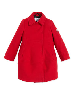 Armani Junior Wool-Blend Dress Coat, Red, Sizes 2-8