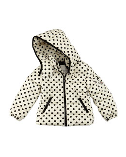 Moncler Bady Polka-Dot Puffer Jacket, Black/White, Sizes 2-6