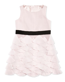Milly Minis Tiered Petal-Appliqué Party Dress, Blush, Sizes 8-14