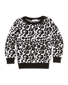 Milly Minis Cheetah-Jacquard Pullover Sweater, Black/White, Sizes 2-7
