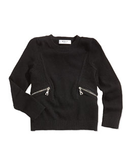 Milly Minis Zipper-Detail Pullover Sweater, Black, Sizes 8-14