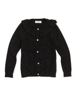 Milly Minis July Ruffle Rhinestone-Button Cardigan, Black, Sizes 8-14