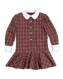 Ralph Lauren Childrenswear Tartan Plaid Poplin Dress, 2T-3T