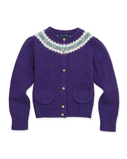 Ralph Lauren Childrenswear Fair Isle Yoke Cardigan, Purple, 2T-3T