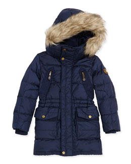 Ralph Lauren Childrenswear Hooded Quilted Nylon Jacket, Gentian Blue, Girls' 4-6X