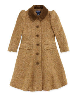 Ralph Lauren Childrenswear Herringbone Tweed Princess Coat, Tan, Sizes 4-6X