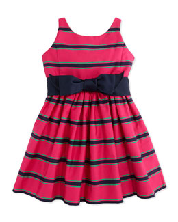 Ralph Lauren Childrenswear Striped Cotton-Sateen Dress, Pink Multi, Sizes 4-6X
