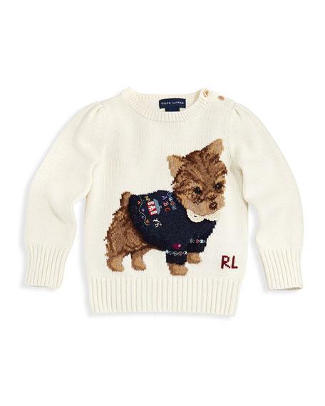 Ralph Lauren Childrenswear Intarsia Knit Dog Sweater Sizes 4 6x