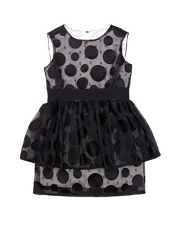 Milly Minis Fil Coupé Peplum Dress, Sizes 2-7