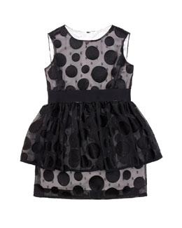 Milly Minis Fil Coupé Peplum Dress, Sizes 2-7