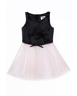 Milly Minis Sully Satin & Tulle Party Dress, Blush, Sizes 2-7
