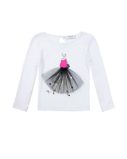 Milly Minis Ballerina Graphic Tee, White, Sizes 2-7