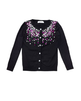 Milly Minis Sequined Knit Cardigan, Black, Sizes 2-7
