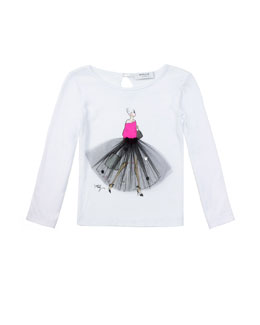 Milly Minis Ballerina Graphic Tee, White, Sizes 8-14