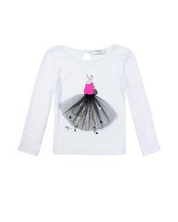 Milly Minis Ballerina Graphic Tee, White, Sizes 8-14