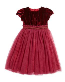 Velvet and Tulle Party Dress, Burgundy, Sizes 3-12