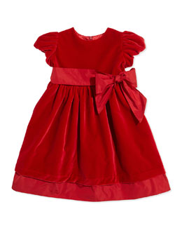 Velvet Party Dress with Sash, Red, Sizes 3-12