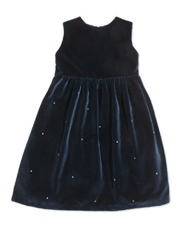 Crystal-Detail Velvet Party Dress, Navy or Red, Sizes 3-12