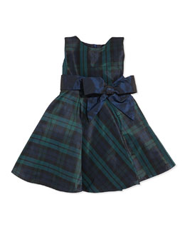 Tartan-Plaid Satin Dress, Green, Sizes 3-12